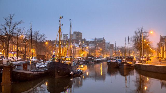 Historic ships Noorderhaven Groningen