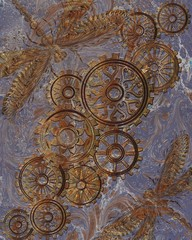 Beautiful background with gears in the style of steampunk. Vector illustration.