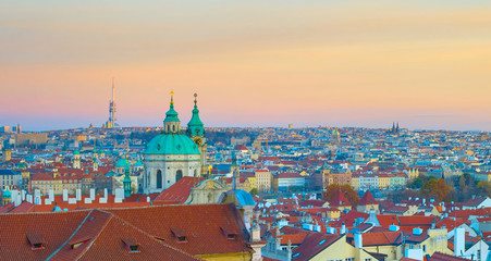 Fototapete - Panorama of Prague twilight Czech
