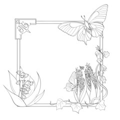 Spring Frame with flowers and butterflies