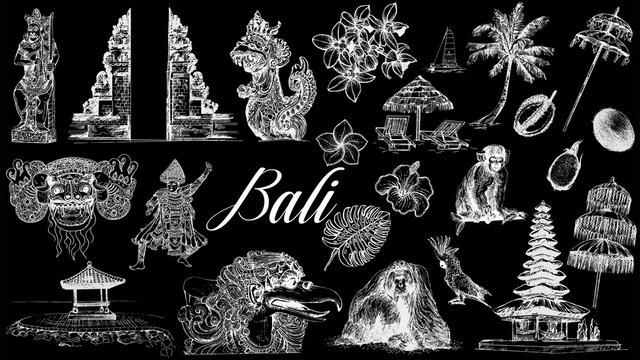 Set of hand drawn sketch style Bali themed objects isolated on black background. Vector illustration.