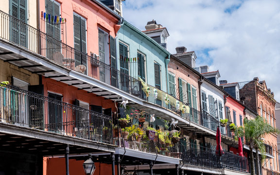 Colorful buildings around French Quarter, New Orleans