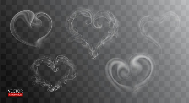 Hot steam over cup on dark or transparent background. White cigarette smoke wave. Set of heart fume on water, tea, food, coffee, ice. Vapor, mist, gas, fog vector illustration. Hazy fragrance on ice