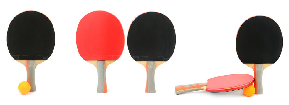 Set table tennis rackets isolated on white.
