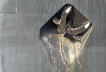 anchor of a ship at the hull or watertight body