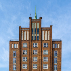 old building in the city or Rostock - brick facade of an old storage building