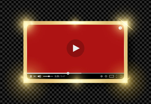 Golden shining modern video red player design template for web and mobile apps flat style isolated on transparent background. Vector illustration