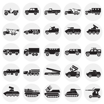 Military vehicles icons set on cirlces white background for graphic and web design. Simple vector sign. Internet concept symbol for website button or mobile app.