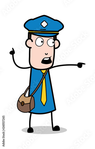 Scared Man Showing - Postman Cartoon Courier Guy Vector