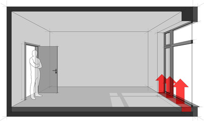 3d illustration of  empty room with door and tall french window and standing man in the opened door and floor convector for heating in front of window