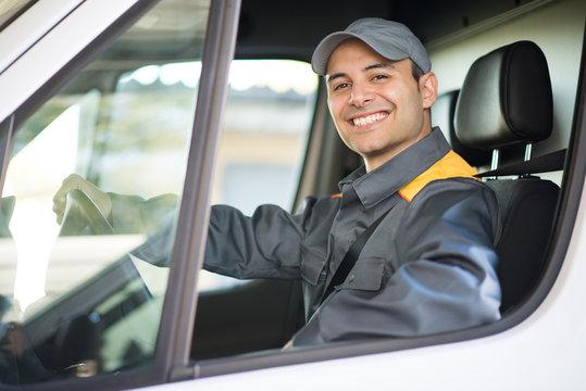 Deliverer driving van