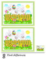 Logic puzzle game for children. Need to find 8 differences. Printable page for baby brainteaser book. Cute rabbits are hunting Easter eggs. Developing skills for counting. Vector cartoon image.