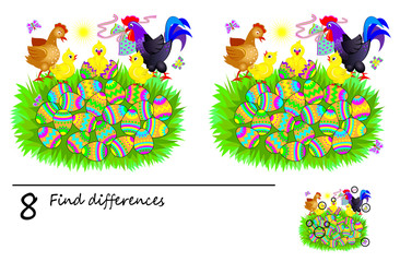 Logic puzzle game for children. Need to find 8 differences. Printable page for baby brainteaser book. Cute chicken hatched from an Easter eggs. Developing skills for counting. Vector cartoon image.
