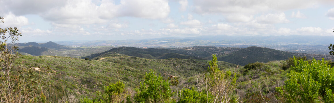 Aliso & Woods Canyon Wilderness trail in the spring after a rainy season, Laguna Beach, CA hiking trails.