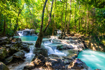 Erawan Waterfall in National Park, Thailand,Blue emerald color waterfall