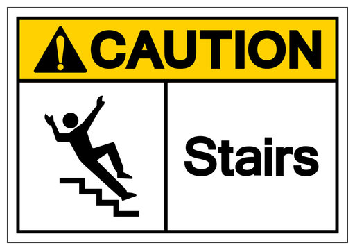Caution Stairs Symbol Sign, Vector Illustration, Isolate On White Background Label. EPS10