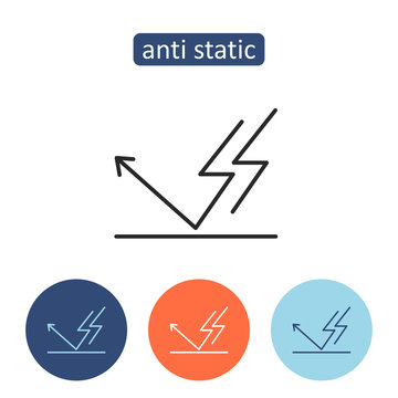 Anti static material outline icons set