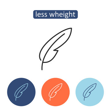 Less weight material outline icons set