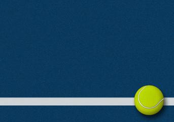3d rendering of tennis ball in tennis court. Sport Background
