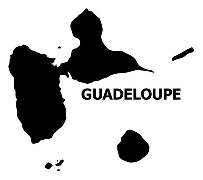 Vector Flat Map of Guadeloupe with Name