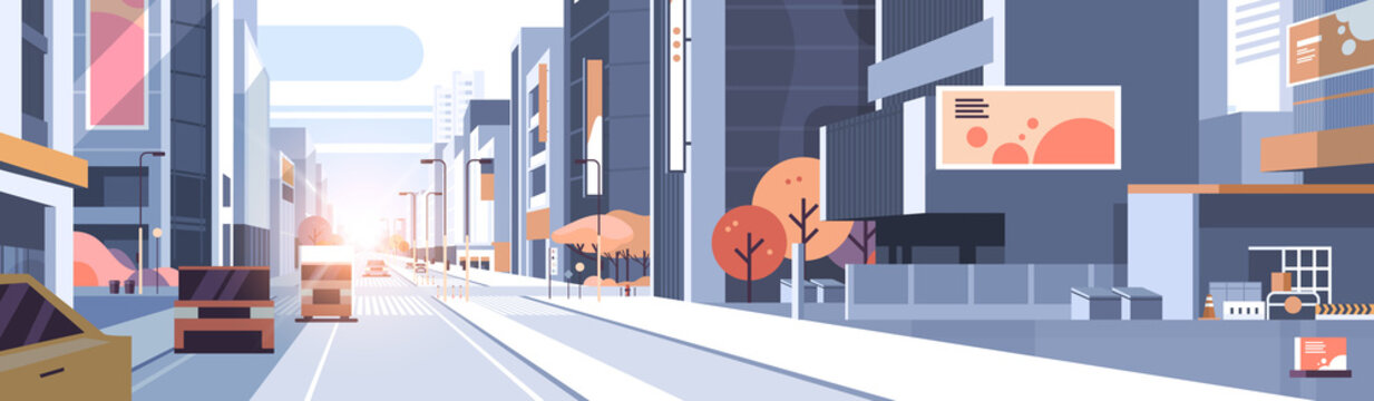 cars driving road traffic urban street skyscraper building view modern cityscape background city life concept horizontal flat