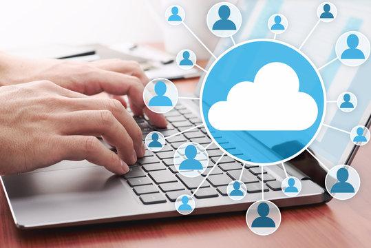Cloud computing concept. Sharing file on server.Using laptop for sending data on cloud server.