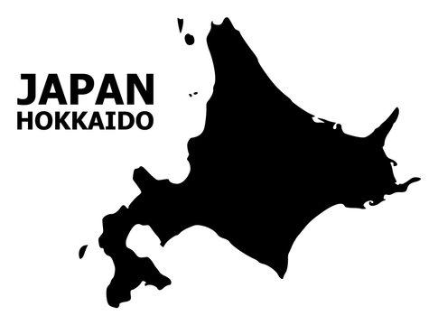 Vector Flat Map of Hokkaido Island with Name