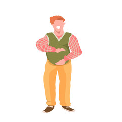 Wall Mural - obese man touching his fat belly smiling overweight casual guy obesity concept male cartoon character full length flat white background