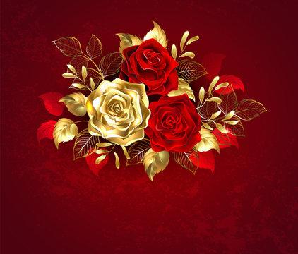 Three jewelry roses
