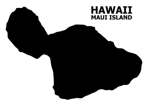 Vector Flat Map of Maui Island with Caption