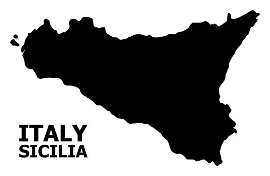 Vector Flat Map of Sicilia Island with Caption