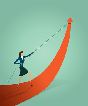 Businesswoman pulling arrow graph go path to goal or target, symbol of growth concept Vector illustration