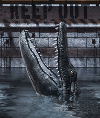 Alligator's tank please keep out,3d rendering