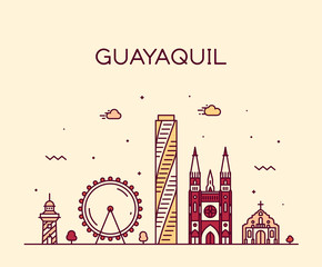 Fotomurales - Guayaquil skyline Ecuador vector linear style city