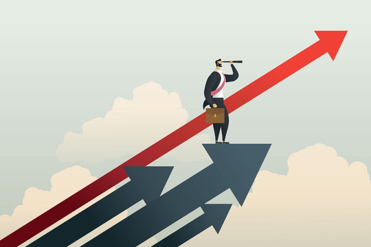 Businessman standing searching for opportunities goal on arrow. illustration Vector