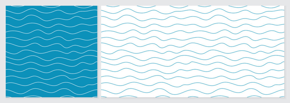 Wave pattern seamless abstract background. Lines wave pattern with blue and white colors. Summer vector design. Template set with 2 sizes.