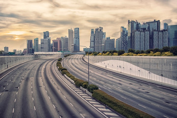 Fototapete - Business district in Singapore City