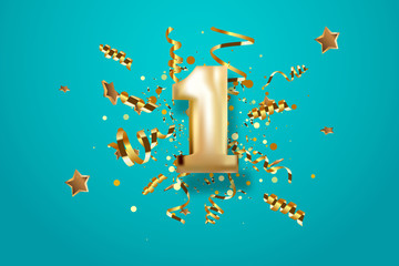 First Anniversary celebration. Golden number 1 with sparkling confetti, stars, glitters and streamer ribbons. Vector festive illustration. Fototapete