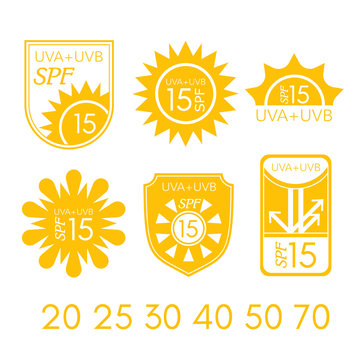 Spf labels collection. Ultraviolet protection vector emblems.