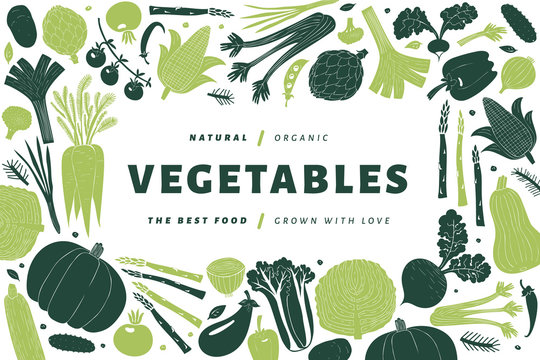 Fun hand drawn vegetables design template. Food background. Linocut style. Healthy food. Vector illustration