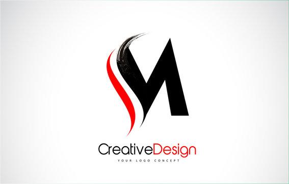 Red and Black M Letter Design Brush Paint Stroke