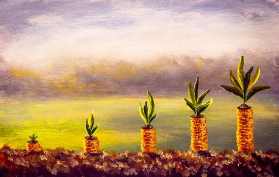 Business Finance and Money concept illustration, Money gold coin stack growing graph with green bokeh background, investment concept painting artwork