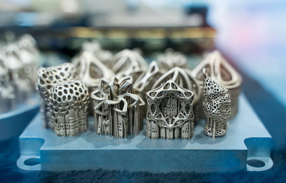 Object printed on metal 3d printer close-up.