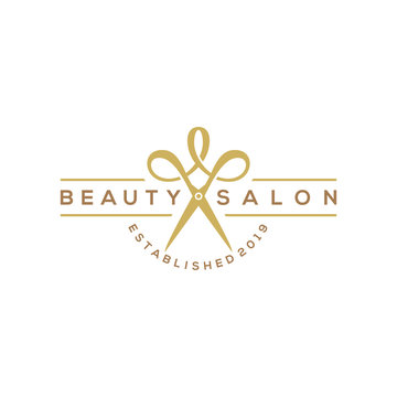 beauty haircut salon logo with scissor vector illustration design