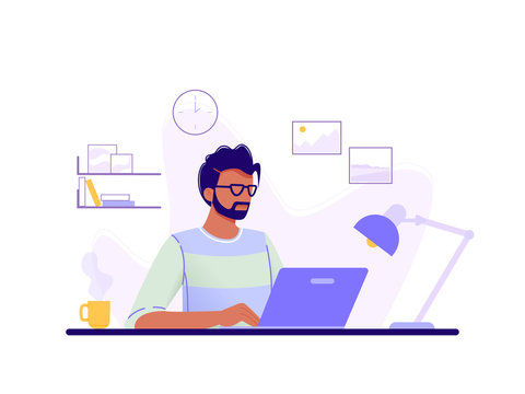 Office worker. Man is working at his laptop in the office interior. Blue, green, yellow. Isolated flat vector illustration.