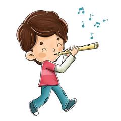 Niño tocando la flauta mientras camina