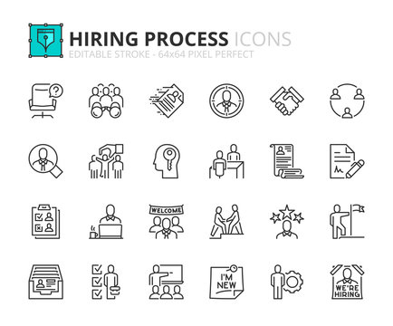 Outline icons about hiring process