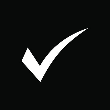 White check mark icon on black background. Tick symbol, tick icon vector illustration.