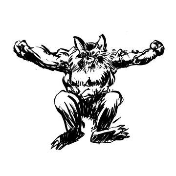 Werewolf jumping drawing - Vector illustration
