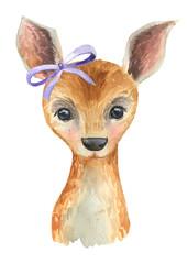 Baby deer painted watercolor. Cute deer. Decor for the nursery. Children's illustration